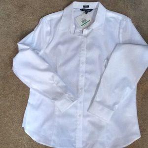 Ellen Tracy white button down shirt
